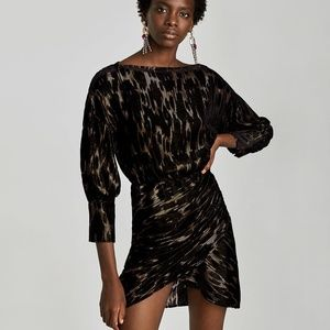 Zara Shiny Draped Mini Dress - Size XS - NWT